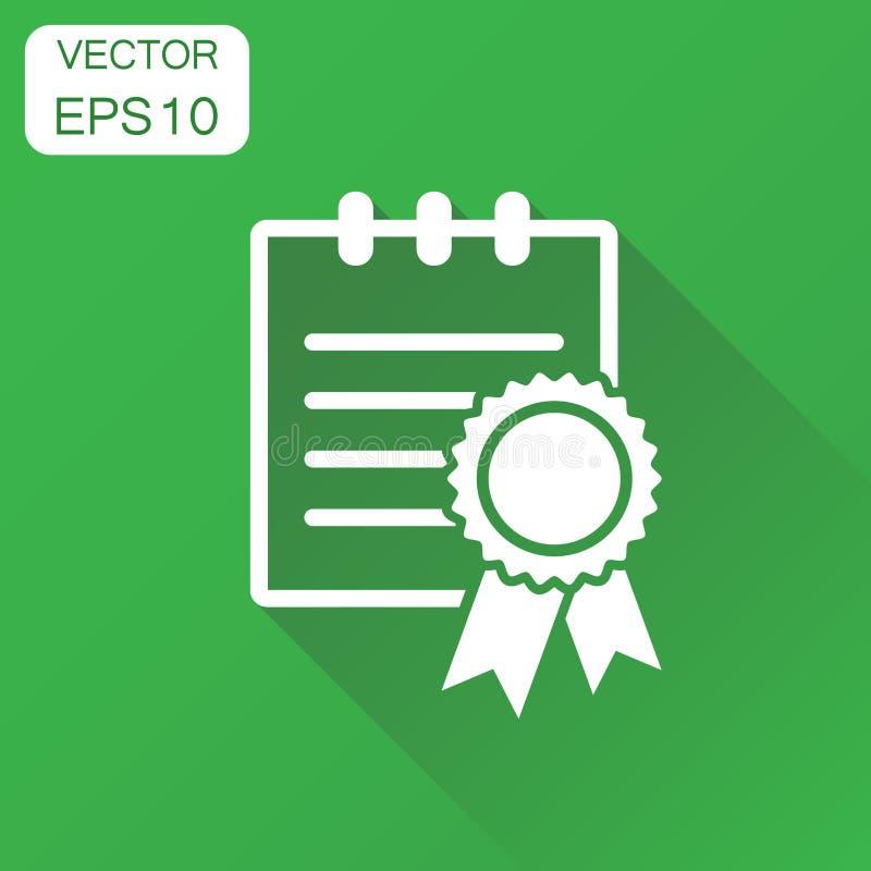 Certifikatsymbol Pictogram för affärsidédiplomutmärkelse Vect royaltyfri illustrationer