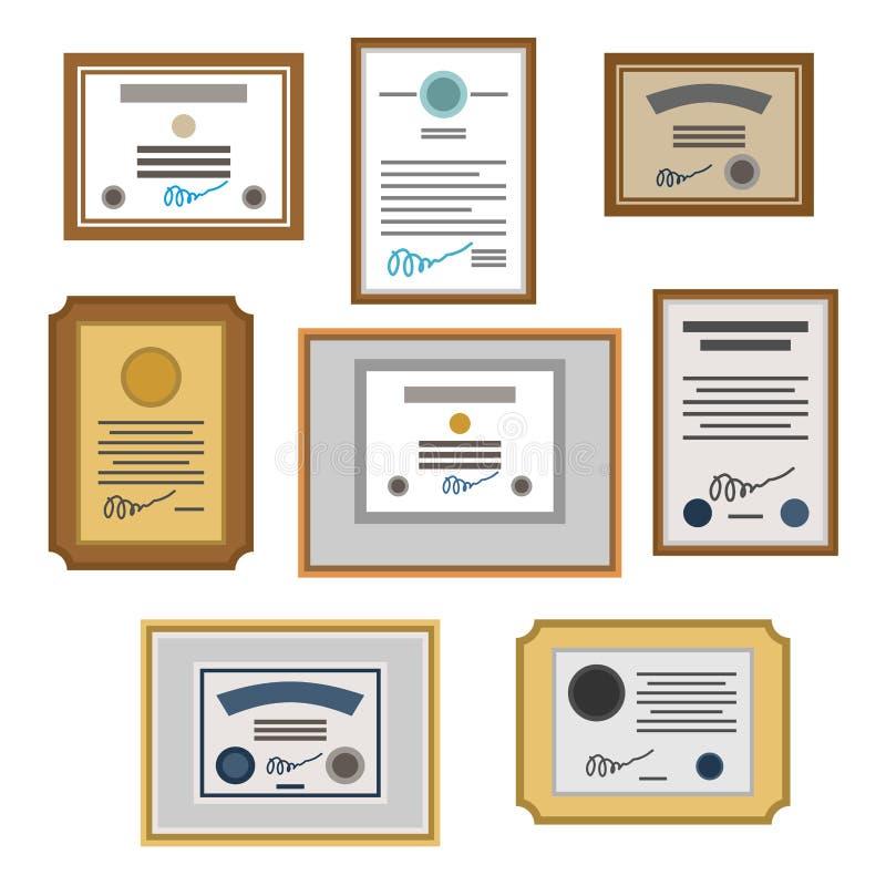Certifikatuppsättning diplom Utmärkelsemall också vektor för coreldrawillustration stock illustrationer