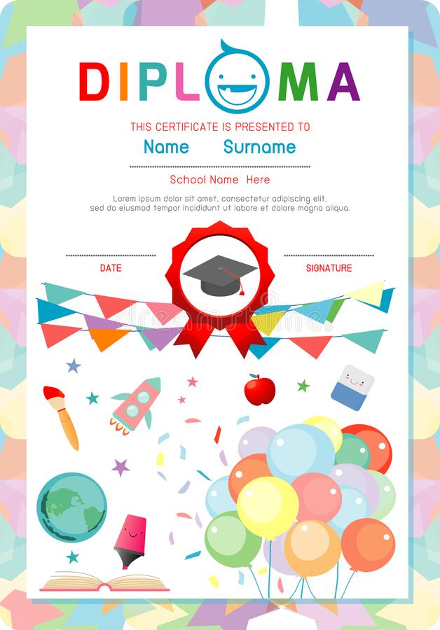 Certifique El Diploma De Los Niños, Vector Del Diseño Del Marco Del ...