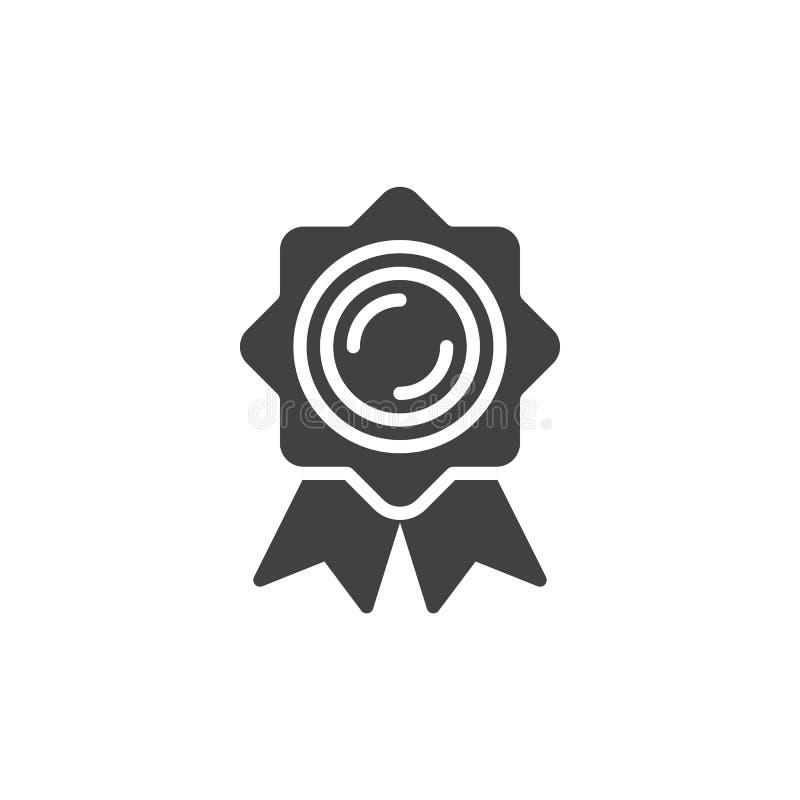 Certifique el vector del icono de la medalla, muestra plana llenada ilustración del vector