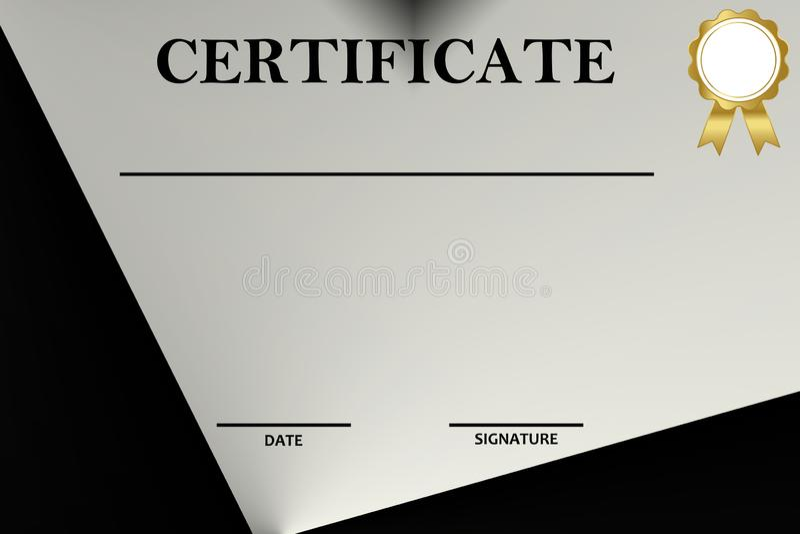 Certifique la plantilla con el modelo de lujo y moderno, diploma Ilustraci?n del vector imagen de archivo