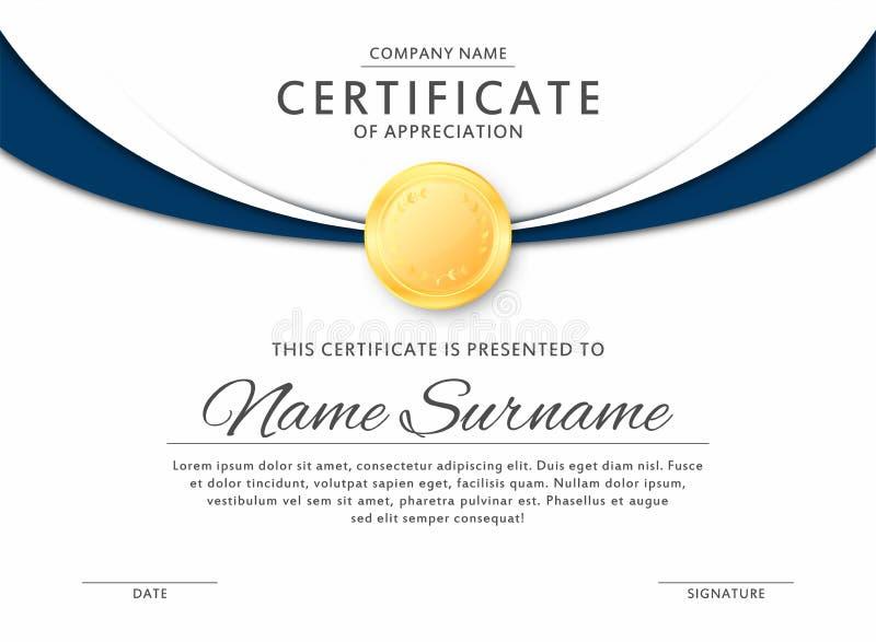 Certifique la plantilla en colores negros y azules elegantes Certificado de aprecio, plantilla del diseño del diploma del premio stock de ilustración