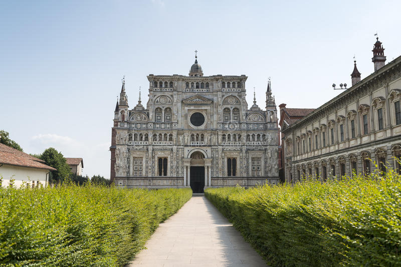 Certosa di Pavia (Lombardy, Italy). Facade of the church o the historic abbey stock images