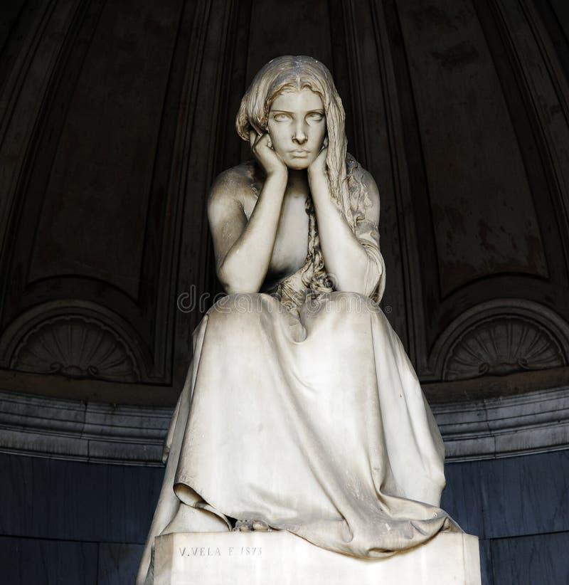 Certosa Monumentale Begraafplaats De Kapel van Gregorinibigram, de verlatenheid van ` Desolazione ` door Vincenzo Vela 1875 stock foto's