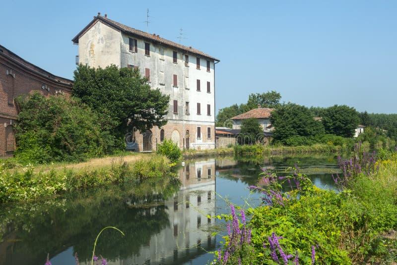 Certosadi Pavia, oud huis royalty-vrije stock afbeeldingen