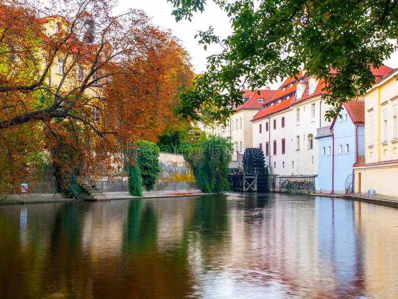 Certovka, Devil River, with watermill wheel at Kampa Island, Prague, Czech Republic. stock images