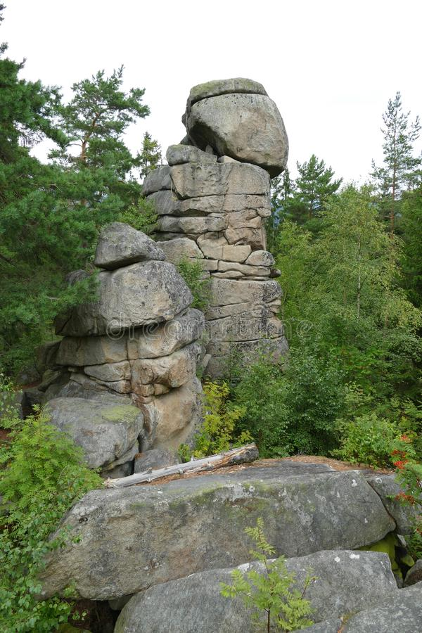 Certovo kopyto在Lipno湖,波希米亚的岩层 库存图片