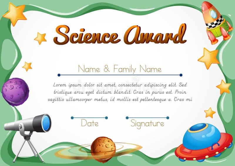 Certyfikata szablon dla nauki nagrody royalty ilustracja