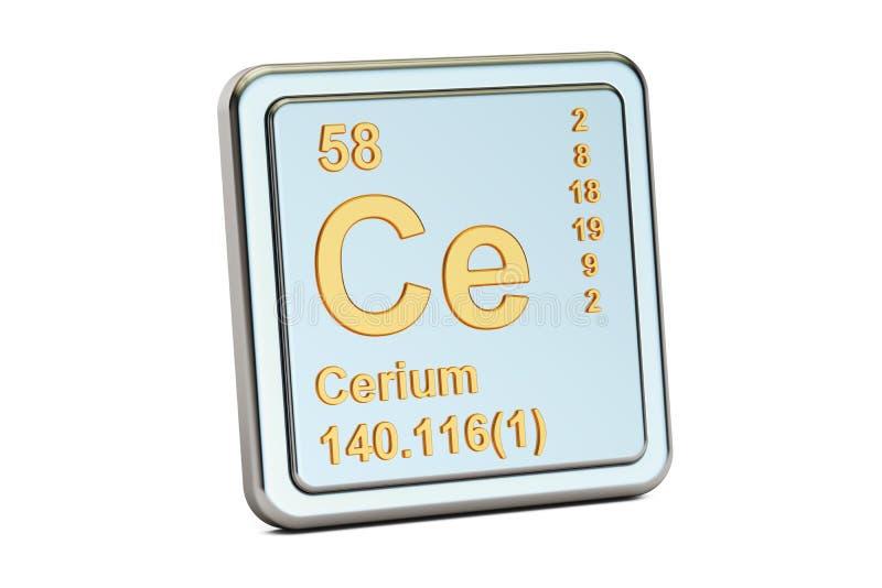 Ceru Ce, chemicznego elementu znak świadczenia 3 d royalty ilustracja