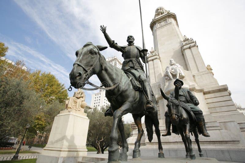 cervantes madrid monument spain fotografering för bildbyråer