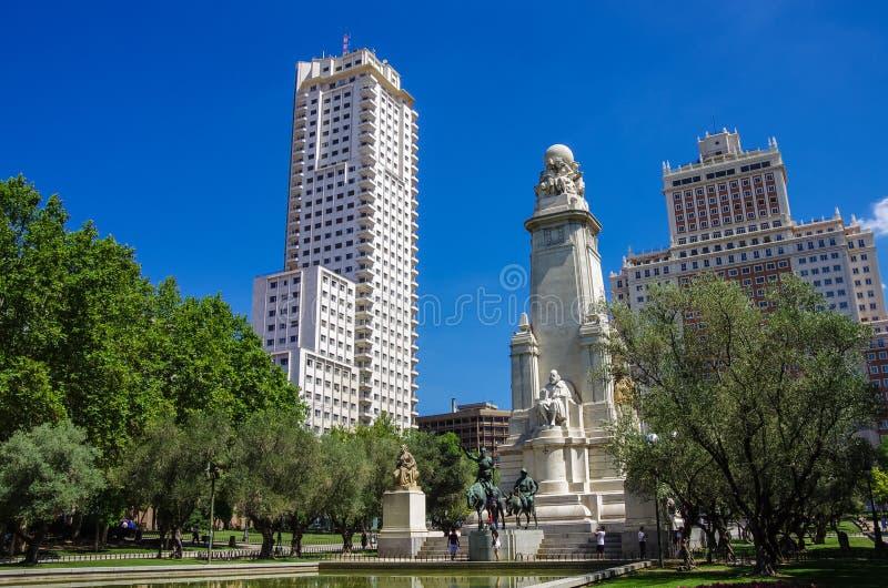 The Cervantes monument, the Tower of Madrid (Torre de Madrid). And the Spain Building (Edificio Espana) on the Square of Spain (Plaza de Espana). Madrid, Spain royalty free stock photos