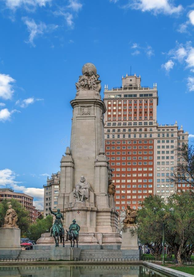 Cervantes zabytek, Madryt obraz stock