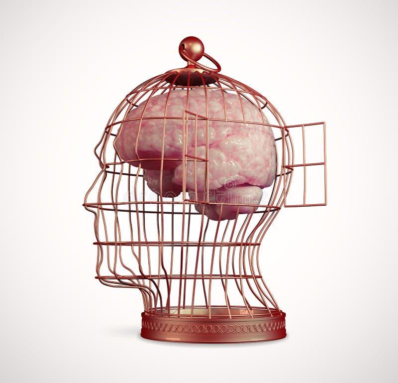 Cerveau à l'intérieur d'une cage illustration libre de droits
