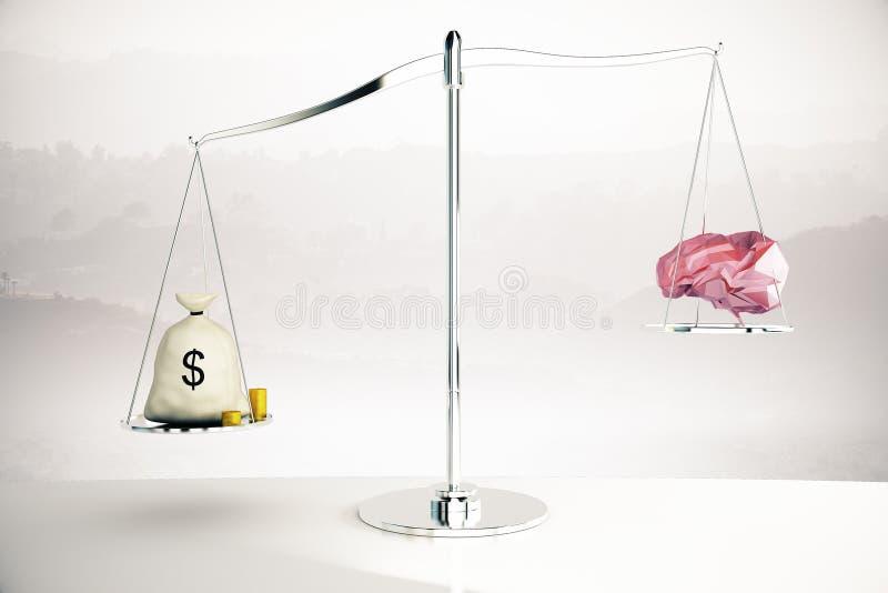 Cerveau étant supérieur d'argent sur le fond brumeux illustration stock
