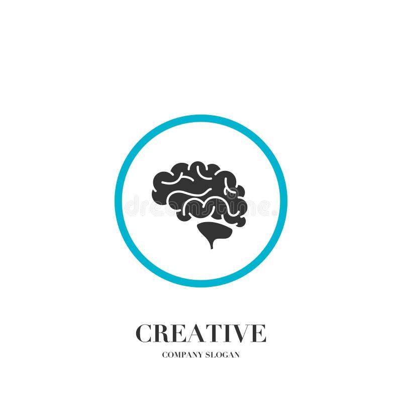 Cerveau abstrait, calibre créatif de conception de vecteur de logo d'esprit illustration libre de droits