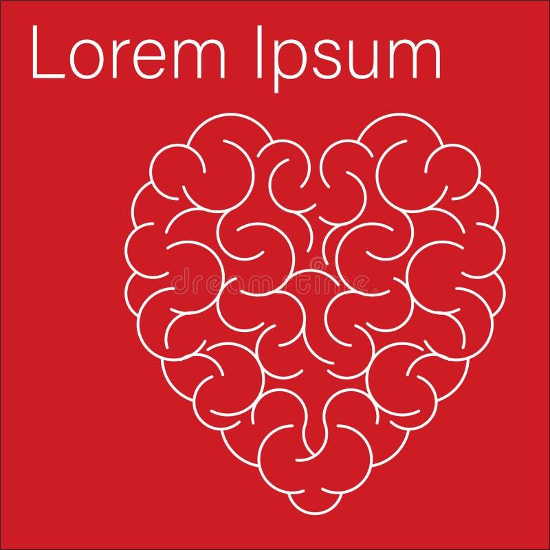 Cerveau au coeur de forme sur le fond rouge illustration de vecteur