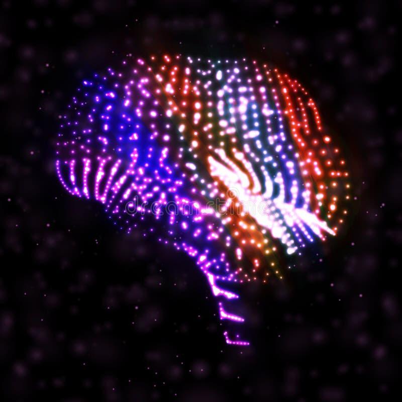 Cerveau au néon, illustration abstraite. illustration de vecteur