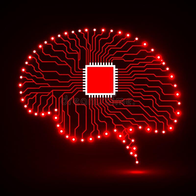 Cerveau au néon Unité centrale de traitement Peut utiliser comme fond Fond abstrait de technologie illustration stock