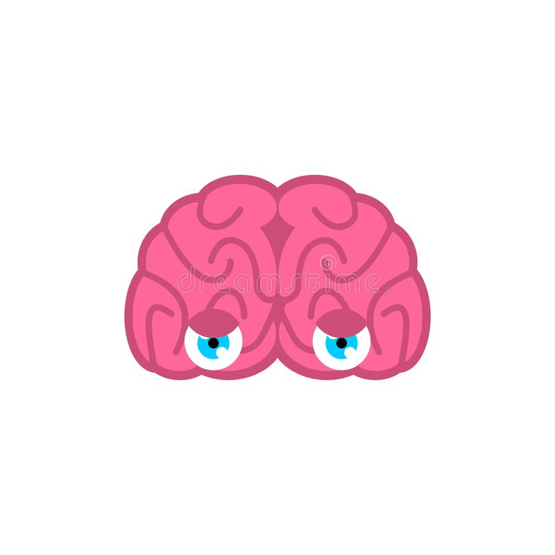 Cerveau avec des yeux d'isolement Les cerveaux regardent Illustration de vecteur illustration de vecteur