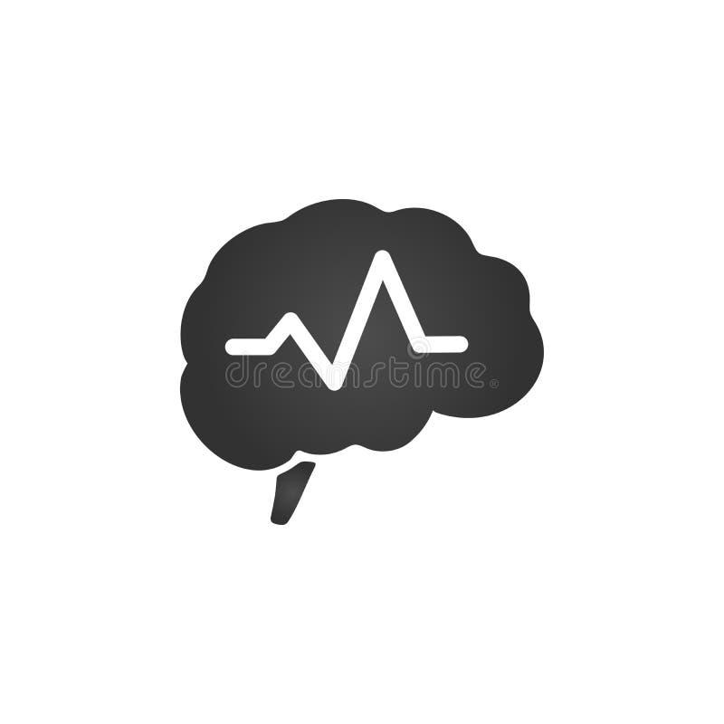 Cerveau avec la conception d'illustration de symbole d'impulsion Illustration de vecteur d'isolement sur le fond blanc illustration stock