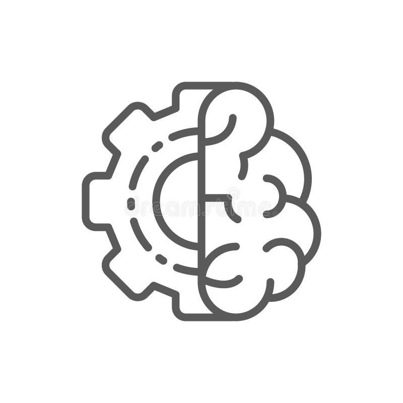 Cerveau avec la roue de vitesse, esprit d'ingénieur, ligne icône d'intellect illustration libre de droits