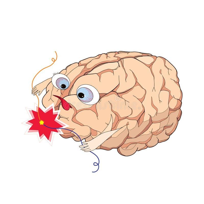 Cerveau avec le court-circuit de fil dans le style de bande dessinée illustration stock
