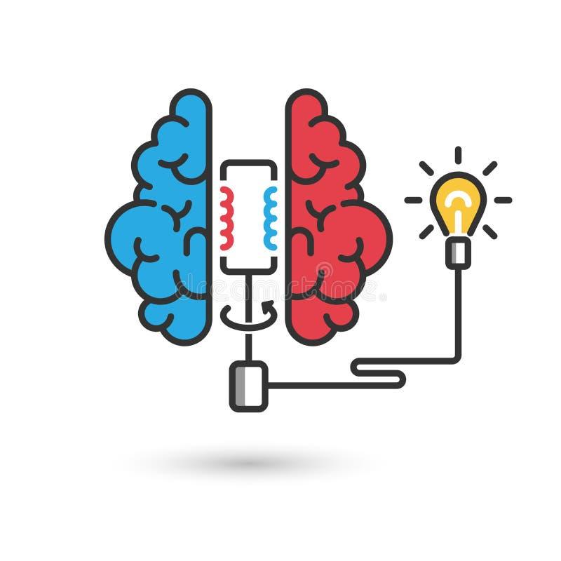 Cerveau avec le générateur électrique et l'ampoule illustration libre de droits