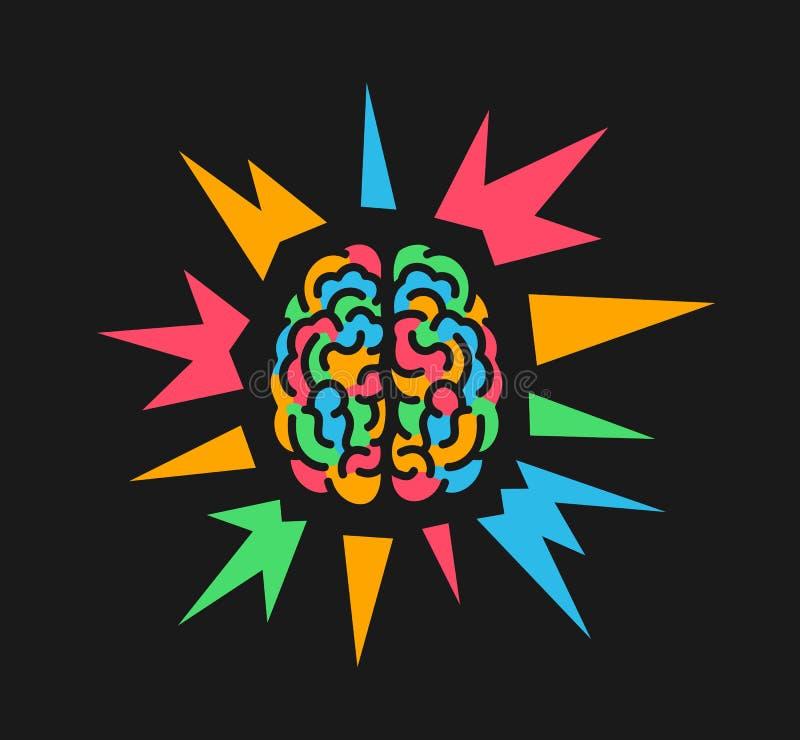 Cerveau coloré en raison de psychedelics et substance hallucinogène, épilepsie et accès épileptique illustration libre de droits