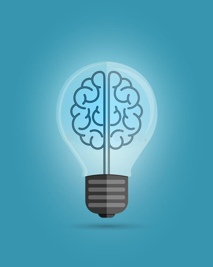 Cerveau d'ampoule illustration de vecteur
