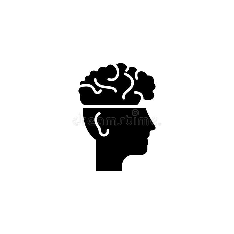 Cerveau dans le concept noir principal d'icône Cerveau dans le symbole plat principal de vecteur, signe, illustration illustration stock