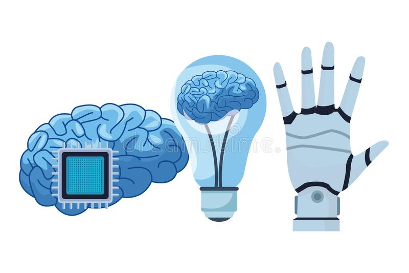 Cerveau dans une ampoule et une puce illustration stock