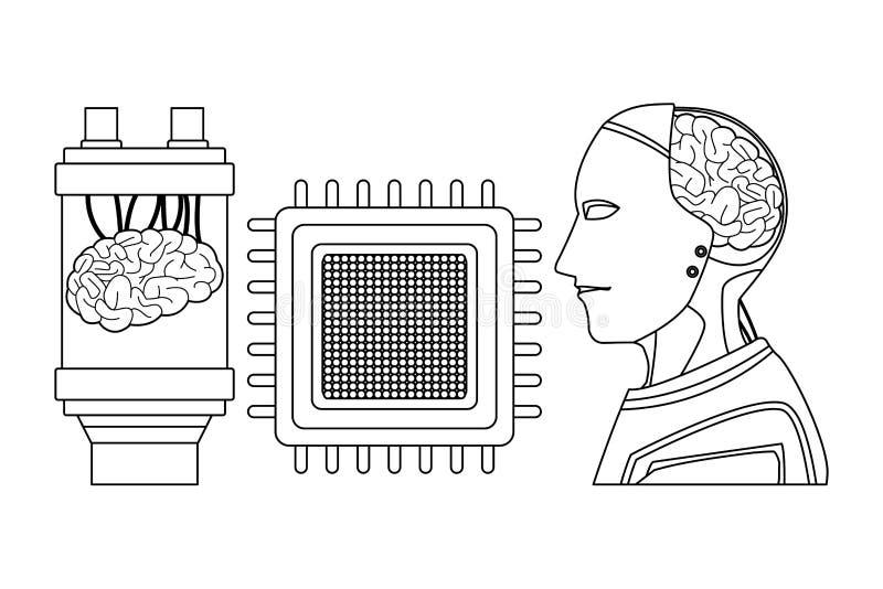 Cerveau dans une batterie noire et blanche illustration stock