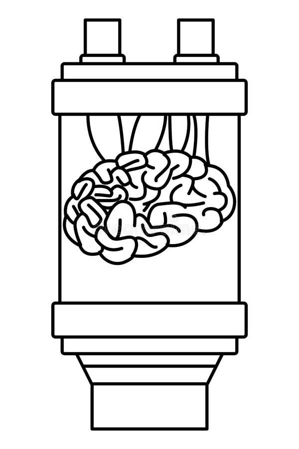 Cerveau dans une batterie noire et blanche illustration libre de droits