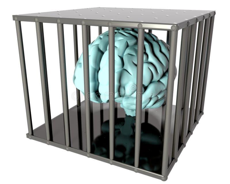 Cerveau dans une cage illustration de vecteur