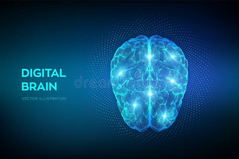 cerveau Cerveau de Digital avec le code binaire concept de la science et technologie 3D R?seau neurologique QI examinant, intelli illustration de vecteur