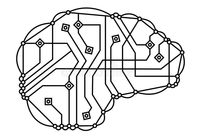 Cerveau de Digital, ligne mince ic?ne Symbole de m?moire Cerveau de circuit ?lectronique Conception de logo de technologie illustration libre de droits