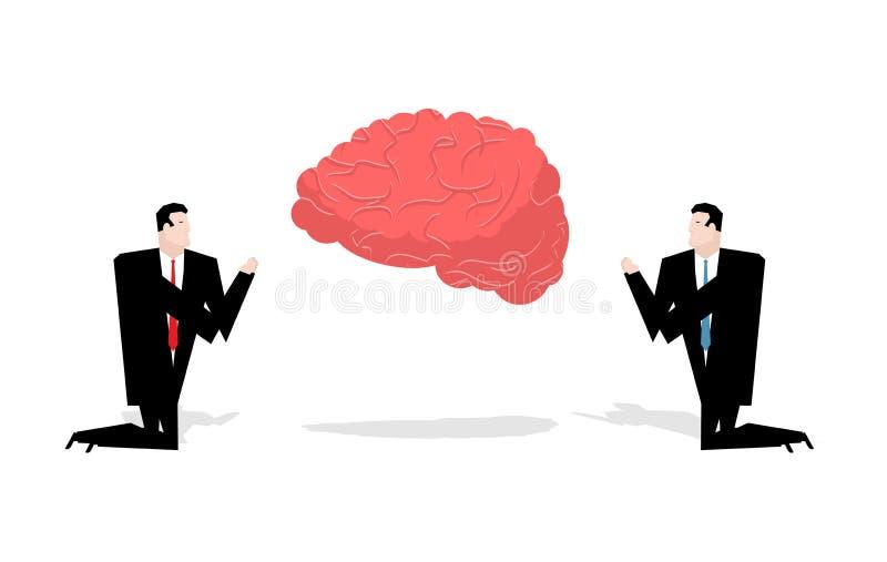 Cerveau de prière Idées de culte Homme d'affaires priant aux pensées RP illustration de vecteur