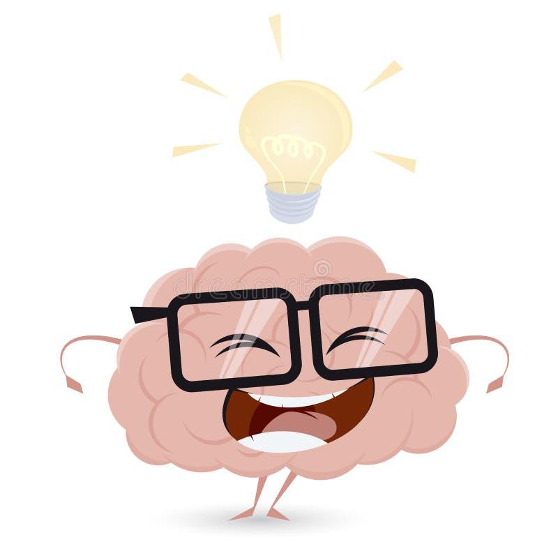 Cerveau drôle de bande dessinée avec l'idée d'ampoule illustration stock