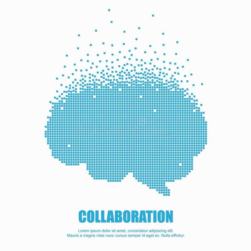 Cerveau en pixel pour la coopération ou le travail d'équipe illustration de vecteur