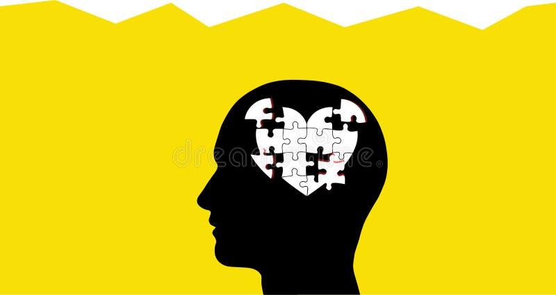 Cerveau en tant que morceaux de puzzle de coeur dans la tête illustration libre de droits