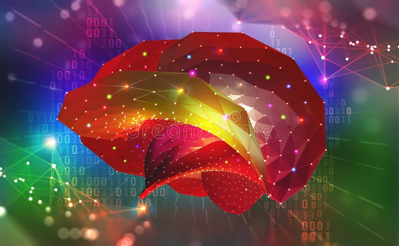 cerveau Esprit de Cyber et réseaux neurologiques de Digital illustration stock