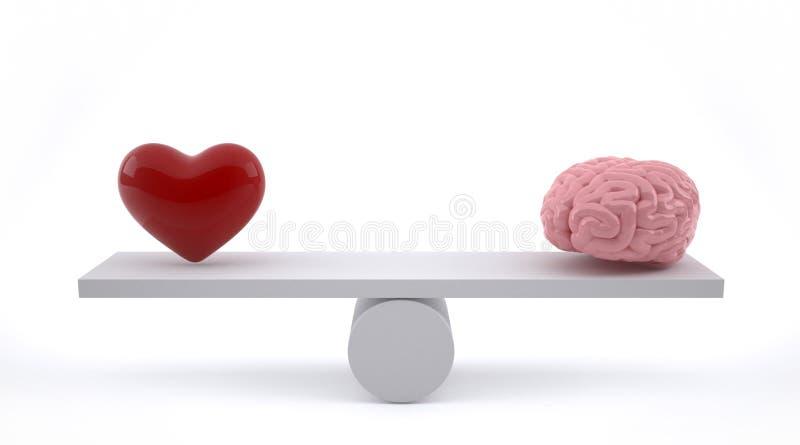 Cerveau et coeur sur une échelle d'équilibre illustration libre de droits