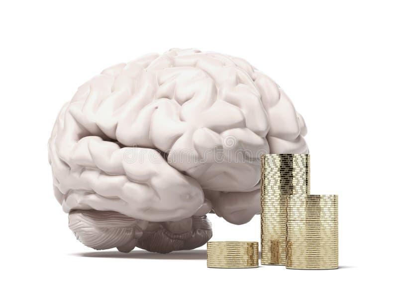 Cerveau et pièces de monnaie illustration stock