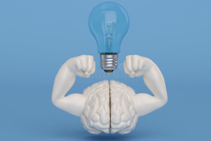 Cerveau fort de muscle de l'illustration 3D créative et ampoule illustration stock