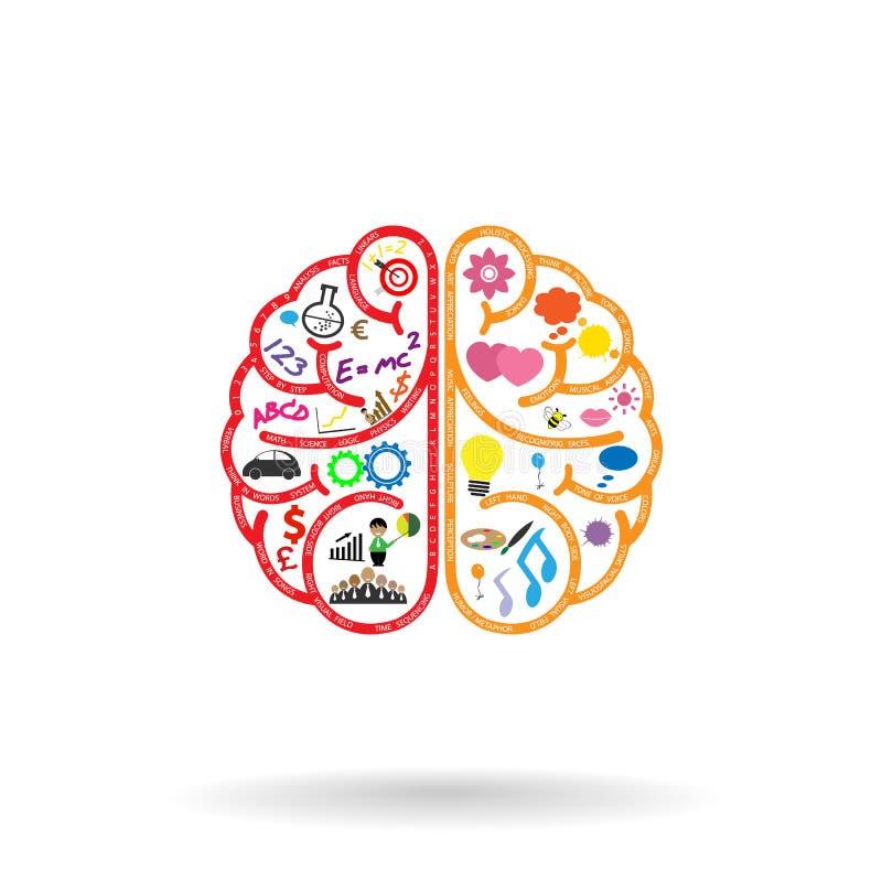 Cerveau gauche et symbole de cerveau droit, signe de créativité, illustration libre de droits