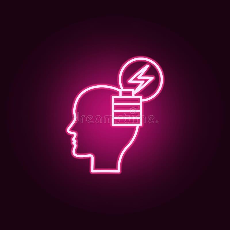 Cerveau, icône au néon d'énergie Éléments d'ensemble de pensée créative E illustration de vecteur