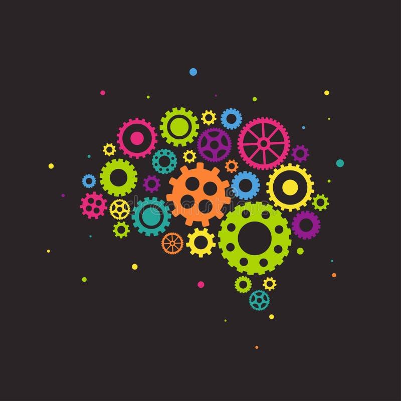 Cerveau lumineux fait en icône colorée de vitesses et de roues d'isolement sur le fond noir Combinaison des pignons illustration libre de droits