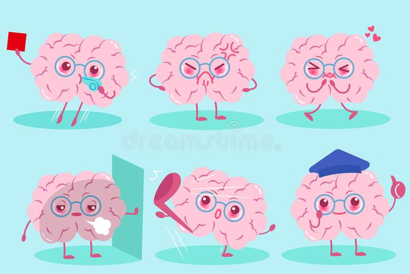 Cerveau mignon de bande dessinée illustration libre de droits