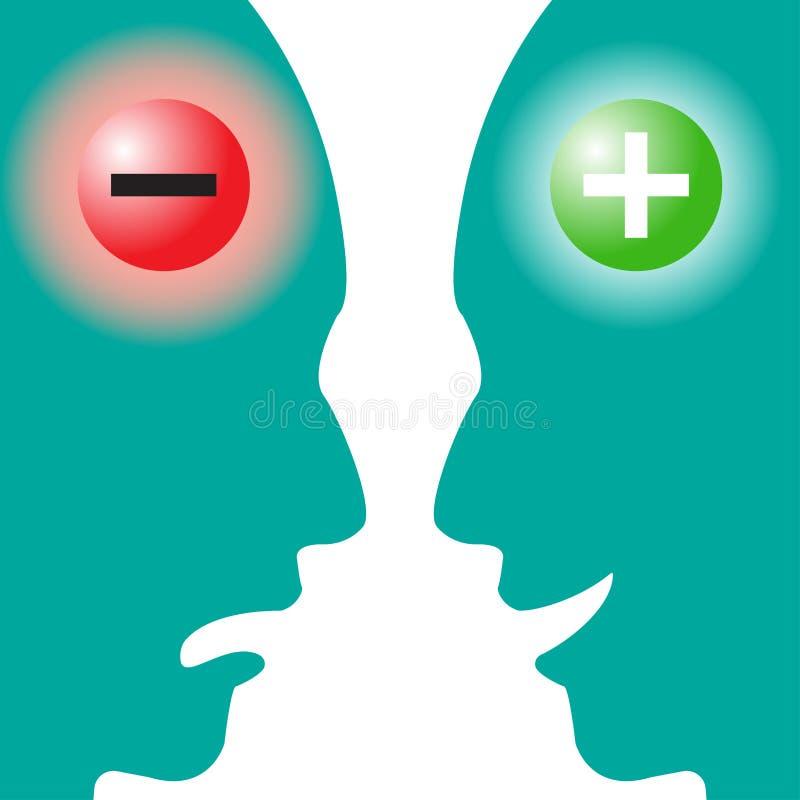Cerveau négatif CONTRE le cerveau positif illustration stock