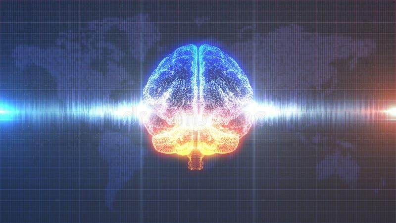 Cerveau numérique orange et bleu d'échange d'idées - avec l'animation d'onde cérébrale illustration libre de droits